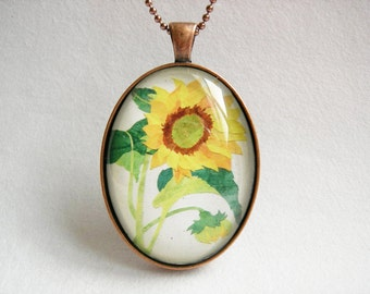 CLEARANCE 40% OFF SUNFLOWER Country Flower Pendant Wearable Art Pendant Yellow Flower Necklace