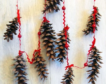 SALE!  Pine Cone Holiday Garland, Rustic Natural Christmas Decor, Red Woodland Simple Christmas Garland