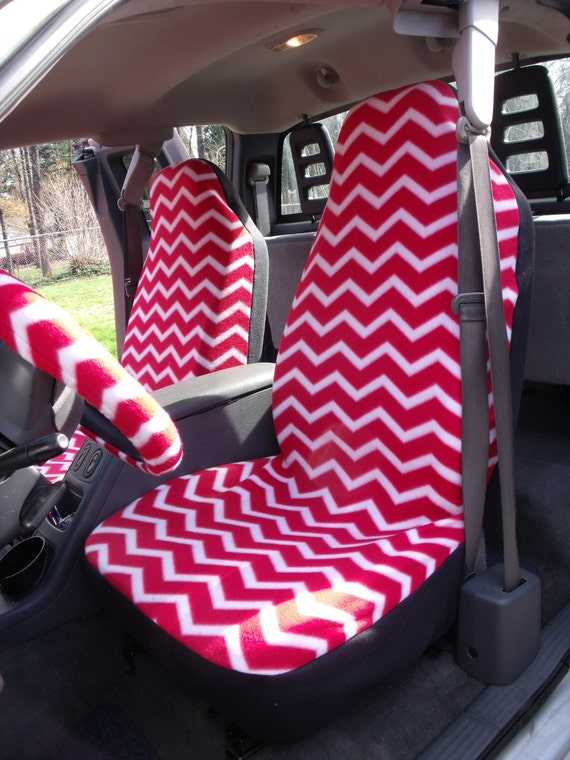 1 Set Of Red White Chevron Print Seat Cover And Steering