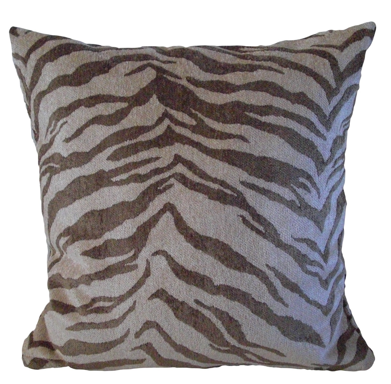 Kuwaha Zebra Animal Print Decorative Throw Pillow Cover; Brown, Beige