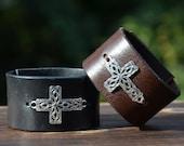 Leather cuff cross bracelet, Cross bracelet, Filigree cross