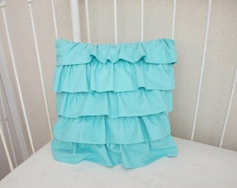 Aqua Cascading  Ruffle Crib Cot Decorative Pillow