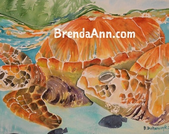 Turtles in Paradise - Watercolor Archival Print               by Brenda Ann