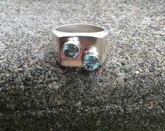 Blue zircon ring, Sterling Silver Handmade Men's, unique mens ring, blue ring? Blue mens ring