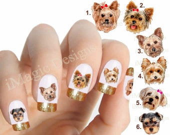 Nail Stickers, Water Slide Nail Decals, Nail Tattoos, Dogs Photo Shoot - Little Yorkie
