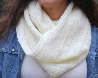 WHITE Knit Infinity Scarf. Sparkly Fall Winter Light Elegant Shawl Cowl Neck Warmer. OOAK. Hand Knitted Fashion Accessory.