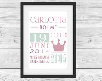 "Birth announcement personalized ""princess"""