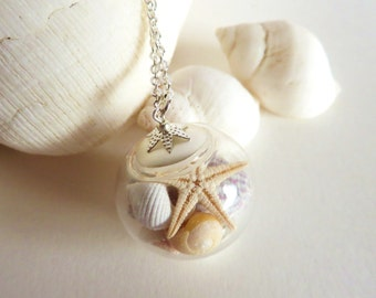 Sea Shell Jewelry, Seashell Necklace, Starfish Necklace, Shell Necklace, Globe Necklace, Beach Wedding, Bridesmaid Jewelry