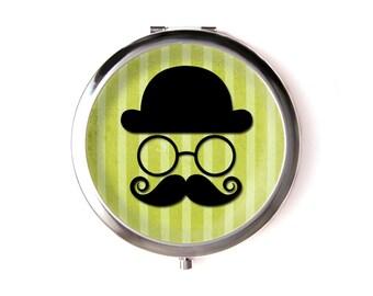Mustache pocket mirror & Organza pouch
