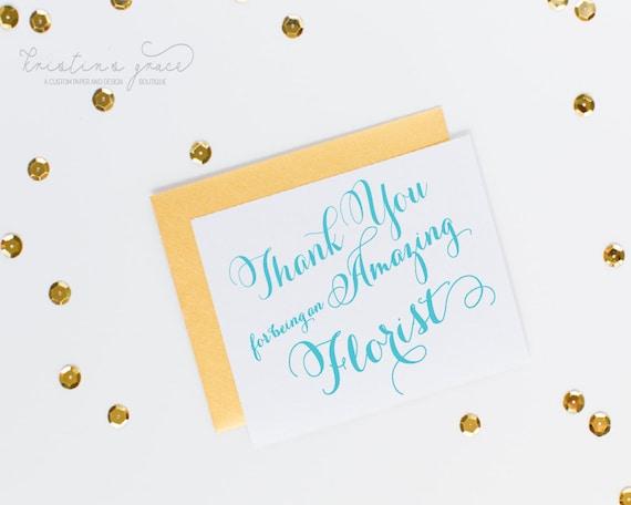 florist wedding vendor thank you cardgraceserendipityshop