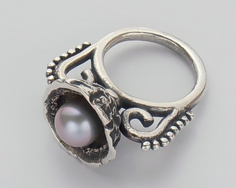Gray Pearl Ring, Bird's Nest Ring, Pure Silver Jewelry, Eco-Friendly Jewelry for Women