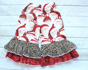 girls christmas ruffle pants toddler girl double ruffle pants  Baby girl Christmas outfit Santa Clause outfit with cheetah and gold ruffle