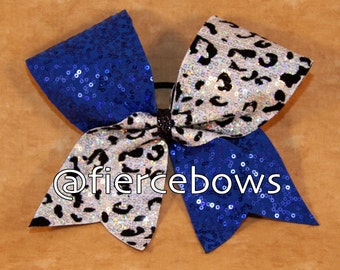 White Cheetah Sequin with Royal Sequin Cheer Bow