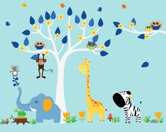 Boys Tree Wall Decal, Kids Tree Reusable WALL DECAL, Jungle Decal, N146A