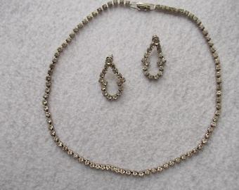 Rhinestone necklace earrings set vintage rhinestone choker rhinestone earrings rhinestone jewelry wedding anniversary 16 inches long vintage