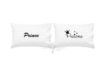 Custom 2 piece Pillowcase Set, Anniversary Gift, Birthday gift, couples, Prince and Princess