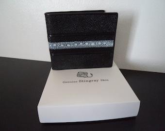 Genuine Stingray Skin Bifold Wallet Gift Boxed