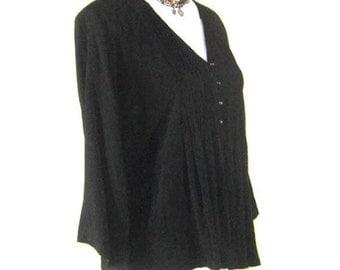 OVERSIZE  BLOUSE, Black 3/4  length sleeve blouse, Large Flapper blouse, Womens black flapper blouse, retro black blouse, Vintage Blouse