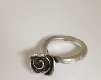 stirling silver ring rose flower