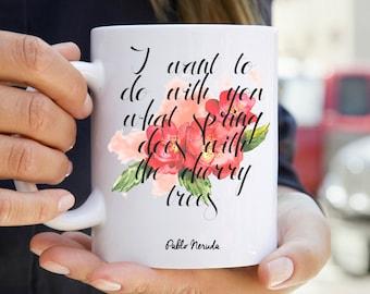 Neruda Mug - Floral Print Bookish Mug