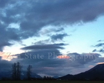 Landscape Photo. Dusk in Blue Photograph. Cloud Photography. Sky Photo Print, Framed Photography, Canvas Print. Home Decor. iPhoneography.