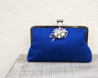 Royal blue clutch bag, royal blue and pearl bridal clutch, blue wedding clutch, royal blue bridesmaid clutch, pearl silk evening clutch, uk