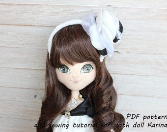 PDF pattern and sewing tutorial for cloth doll Karina
