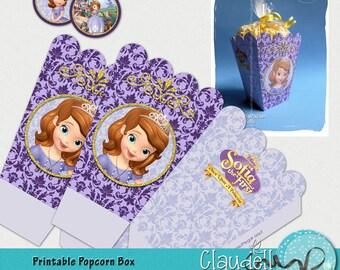 Princess Sofia Inspired Party Printable Popcorn / Favor Box - 300 DPI