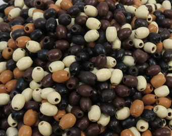 Natural Wood Beads, 1,200 Mixed Color Wooden Beads, 5x3mm Oval Wood Beads, Item 386wb