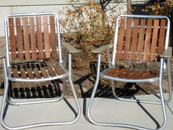 Lawn Chairs Wood And Aluminum Folding Chair Set Of 2 1970s