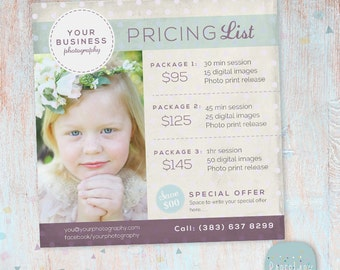 Photography Pricing Packages - Marketing Board - Photoshop template - IP010 - INSTANT DOWNLOAD