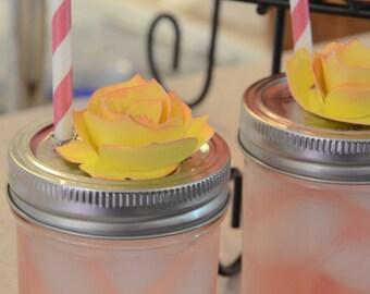 Mason Jar Sippy Cups - Paper roses- mason jar topper - Mason Jar Toppers