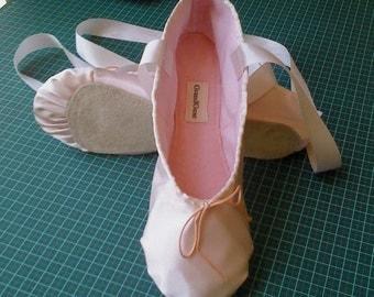 Ballet Pink Satin Ballet Slippers Adult sizes Full sole or Split Sole