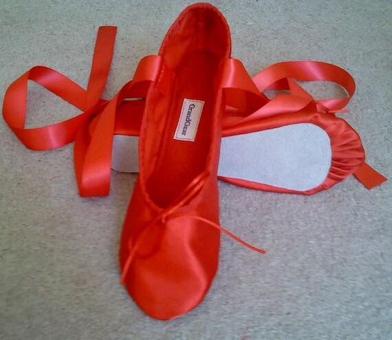 Red Satin Ballet Slippers Full Soles or Split Soles