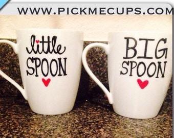 big spoon little spoon love mugs -- coffee mug - funny coffee mug - love mug- valentines day mug- his and hers christmas mugs