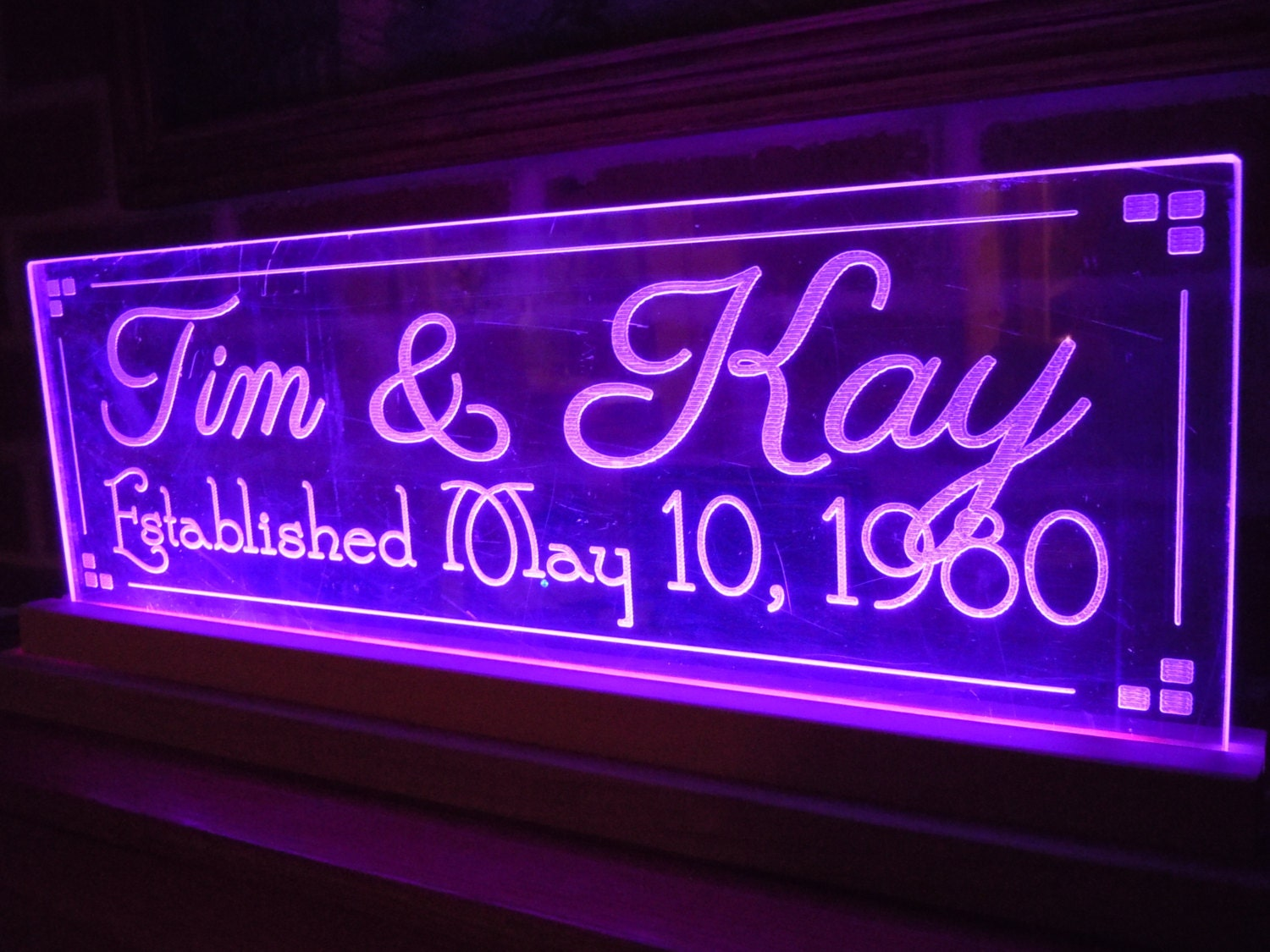 Light Up Signs Custom: LED Lighted Acrylic Sign Wedding Gift Personalized Anniversary