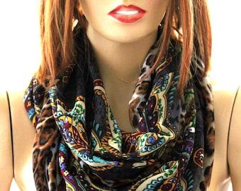 authentic silk chiffon infinity scarf -  Silk scarf -  Authentic scarf - Fashion Scarf - Scarves - Accessories - Wraps -Gift idea - loop