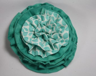 Teal and White Hair Flower