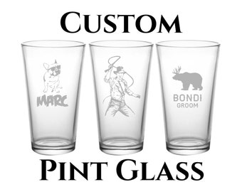 Custom Engraved Pint Glass -16oz- Beer Pint Pub Glass- Personalized Etching