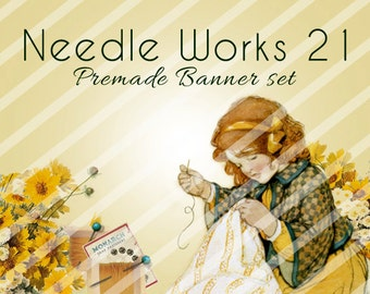 """Banner Set - Shop banner set - Premade Banner Set - Graphic Banners - Facebook Cover - Avatars - Bisiness Card - """"Needle Works 21"""""""