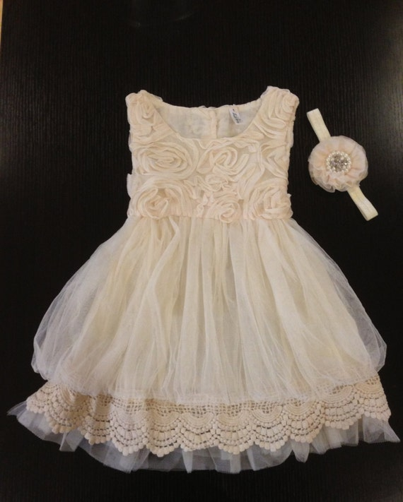 Flower girl dress ivory rosette dress ivory dress vintage