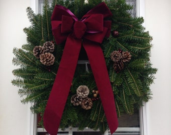 Acorn Lane  Burgandy Holiday Balsam Wreath