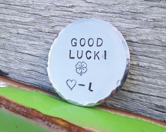 Good Luck Charm Graduation Gifts Mother to Son Dad to Daughter Jewelry Lucky Tokens Going Away to College Four Leaf Clover Coin Nephew Niece