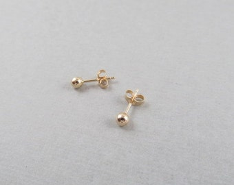 Solid Gold Ball Stud Earrings,  Ball Post Earrings, Gift for Her