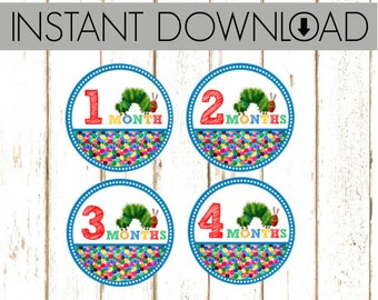 Monthly Onesie Sticker - Eric Carle Hungry Caterpillar - Instant Download