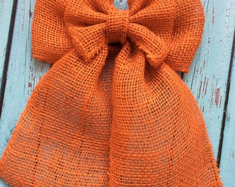 Orange Burlap Double Bow; Fall; Halloween; Decor