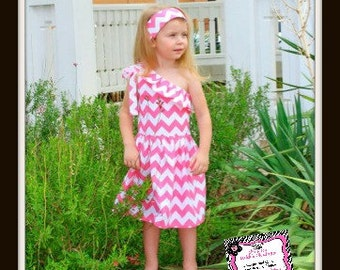 Light Pink, Yellow, Black, Hot Pink, or Turquoise Chevron One Shoulder Dress for Infant, Toddler and Girls