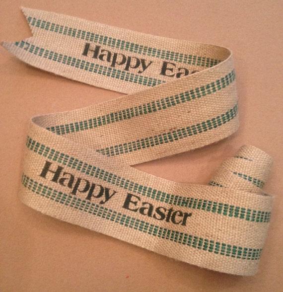 Primitive Happy Easter Natural & Green Jute Webbing Rustic Burlap Garland Ribbon 5'