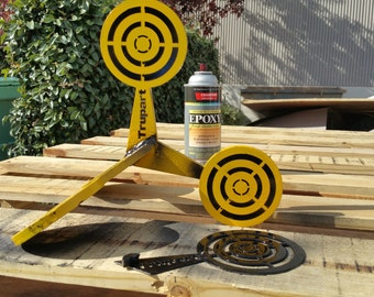 These shooting targets roll over when shot! Super portable! AR 500 steel shooting targets are made to last! Still can ship for Christmass!!