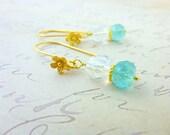 Blue Green Gemstone Earrings, Apatite and Quartz Crystal Dangle Earrings, Sterling Silver Earrings, Chakra Energy Stones
